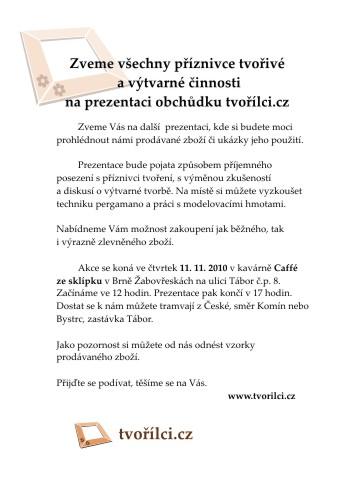 Listopadová prezentace Tvořílci.cz