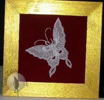 Obrázek motýla technikou pergamano