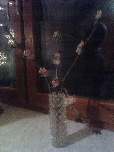 Rozkvetlá třešeň Barborka z korálků