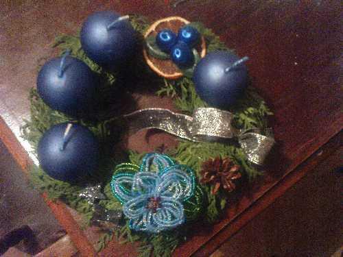 Adventní věnec modrý