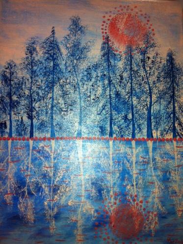 Obrázek malovaný akrylovými barvami